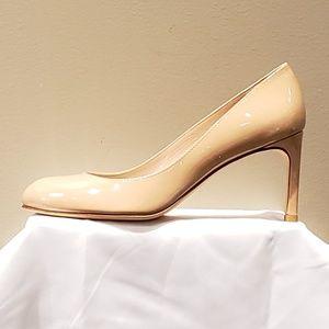 Stuart Weitzman Tessa Leather Heel Pumps Beige